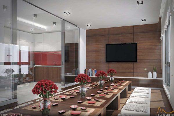 Thiết kế nội thất phòng ăn rộng