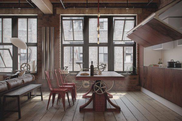 dizajn odnokomnatnoj kvartiry v stile loft14 600x400 - Phong Cách Industrial Decor - Hướng Dẫn