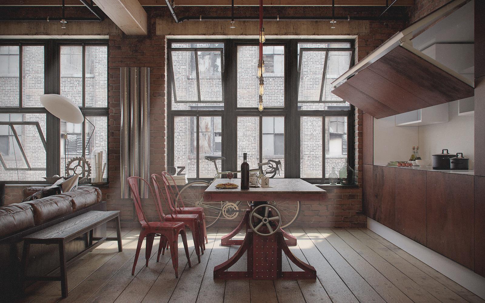 dizajn odnokomnatnoj kvartiry v stile loft14 - Phong Cách Industrial Decor - Hướng Dẫn