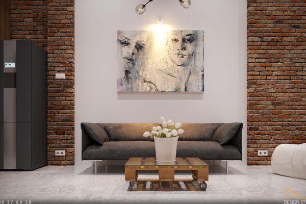 Nội thất phòng khách - gạch trần