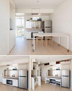 50 best small apartmens movable dining table fit kitchen 237x300 - TƯ VẤN NỘI THẤT CĂN HỘ DIỆN TÍCH NHỎ DƯỚI 65M2