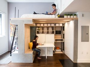elevate the bed to active spaciousness for very small space 300x225 - TƯ VẤN NỘI THẤT CĂN HỘ DIỆN TÍCH NHỎ DƯỚI 65M2