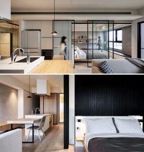 modern sliding glass doors separate sleeping corner 284x300 - TƯ VẤN NỘI THẤT CĂN HỘ DIỆN TÍCH NHỎ DƯỚI 65M2