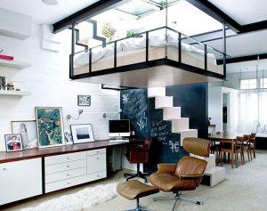 saving space with suspended bedroom 300x237 - TƯ VẤN NỘI THẤT CĂN HỘ DIỆN TÍCH NHỎ DƯỚI 65M2