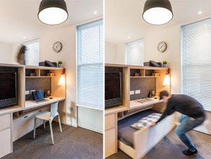 sliding bed under the working place design ideas small apartments 300x226 - TƯ VẤN NỘI THẤT CĂN HỘ DIỆN TÍCH NHỎ DƯỚI 65M2