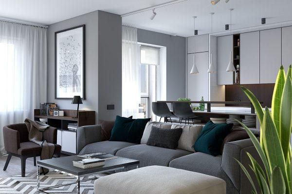 contemporary apartment green ferns zigzag rug 600x400 - GIẢI PHÁP CĂN HỘ MỘT PHÒNG NGỦ - CĂN HỘ TRỞ NÊN RỘNG HƠN