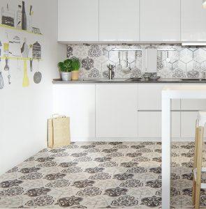 creative greyscale kitchen tiles 295x300 - CĂN HỘ NHỎ SÁNG BỪNG VỚI PHONG CÁCH BẮC ÂU
