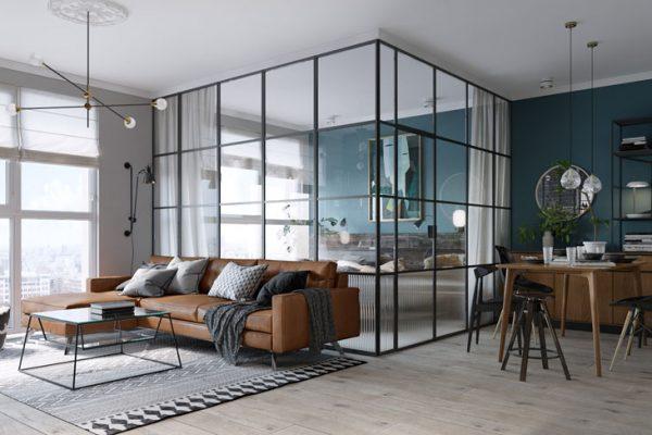 glass enclosed bedroom modern apartment 170517 923 01 600x400 - CĂN HỘ RỘNG HƠN VỚI KHUNG KÍNH ĐEN THAY CHO VÁCH NGĂN