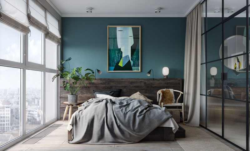 glass enclosed bedroom modern apartment 170517 923 05 - CĂN HỘ RỘNG HƠN VỚI KHUNG KÍNH ĐEN THAY CHO VÁCH NGĂN