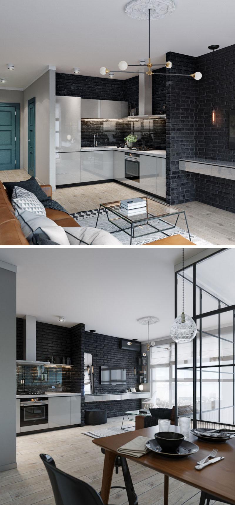 small corner kitchen white cabinets 170517 924 02 1 - CĂN HỘ RỘNG HƠN VỚI KHUNG KÍNH ĐEN THAY CHO VÁCH NGĂN
