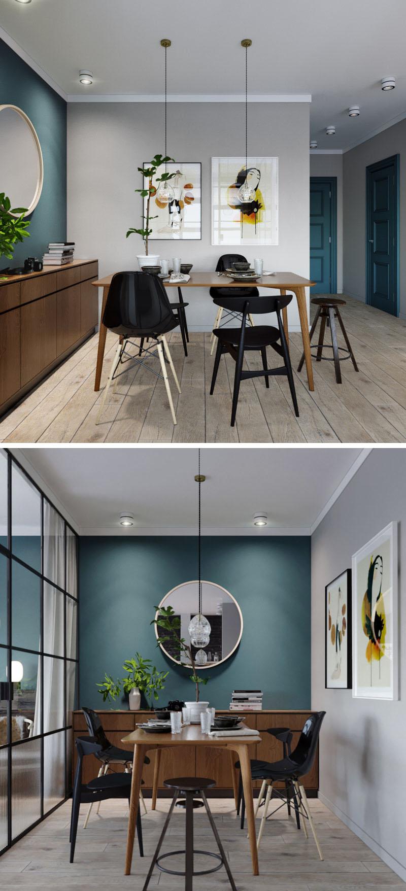 small dining room deep teal accent wall 170517 924 03 1 - CĂN HỘ RỘNG HƠN VỚI KHUNG KÍNH ĐEN THAY CHO VÁCH NGĂN