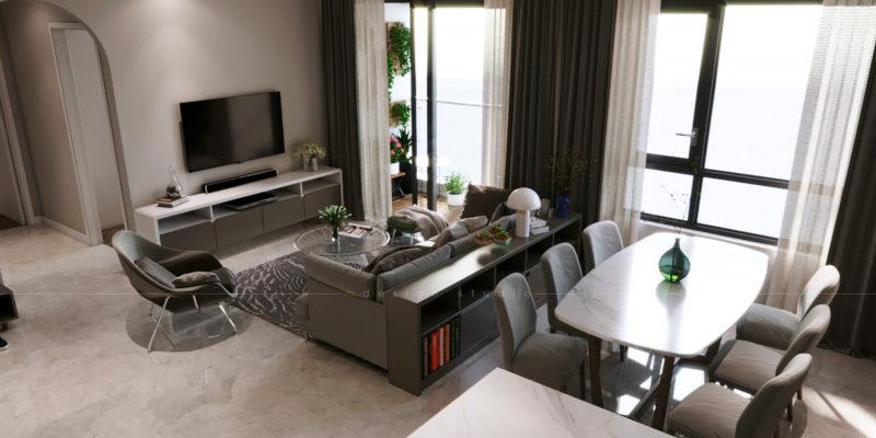 Nội thất phòng khách hiện đại - Căn hộ Đảo Kim Cương